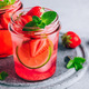 Strawberry lime mojito with fresh mint and ice in glass jar. - PhotoDune Item for Sale