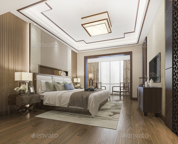 3d Rendering Beautiful Luxury Chinese Bedroom Suite In Hotel With Tv Stock Photo By Dit26978