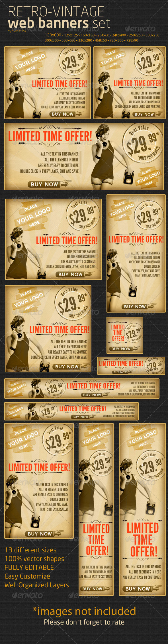 Web Banners - Retro-Vintage Set - Banners & Ads Web Elements
