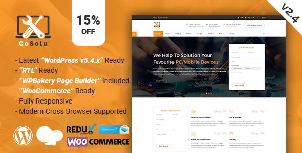 CoSolu   Multipurpose Servicing and Repairing WordPress Theme