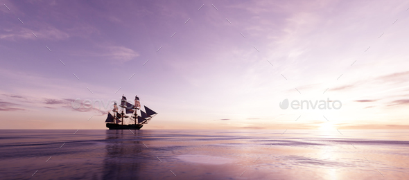 Pirate ship sailing on the ocean at sunset - Stock Photo - Images