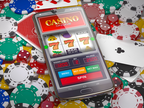 Online casino. Slot machine on smartphone screen, dice, casino chips and cards. - Stock Photo - Images