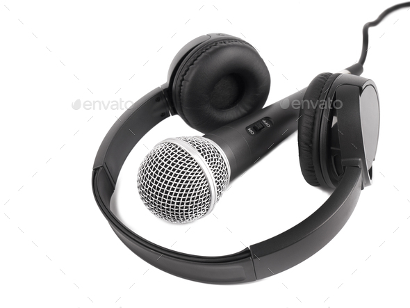 Wireless microphone and headphones - Stock Photo - Images