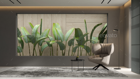 Minimalist Interior of modern living room 3D rendering - Stock Photo - Images