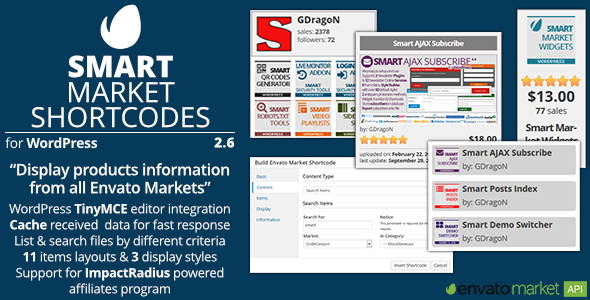 Smart Market Shortcodes - Plugin for WordPress and Envato Market - Preview Image