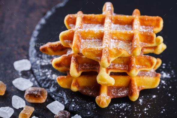 Belgian waffles - Stock Photo - Images