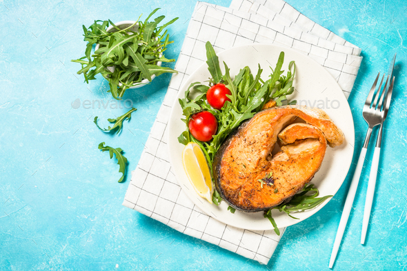 Salmon fish with fresh salad - Stock Photo - Images