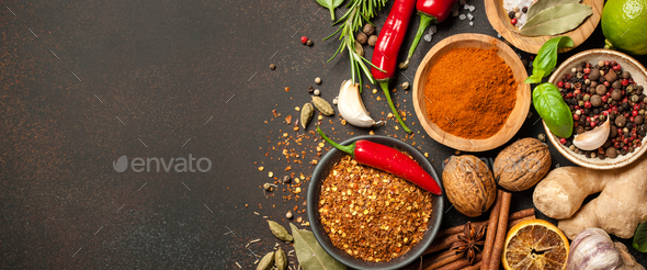 Various spices and herbs for cooking - Stock Photo - Images
