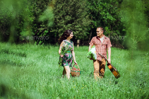 couple relax at countryside on summer vacations - Stock Photo - Images