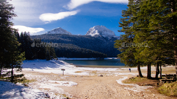 winter mountains and snow lake - Stock Photo - Images