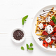 Belgian waffles with fresh strawberry, chocolate topping and whipped cream. Banner - PhotoDune Item for Sale