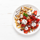 Belgian waffles with fresh strawberry, chocolate topping and whipped cream - PhotoDune Item for Sale