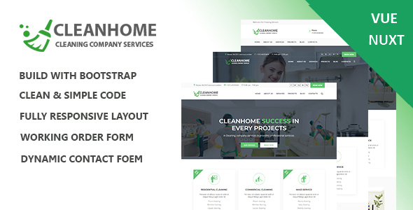 Cleanhome – Cleaning Services Vue Nuxt Template