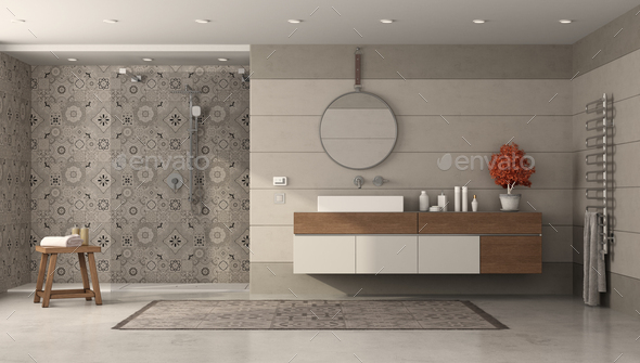 Modern bathroom with shower and washbasin - Stock Photo - Images