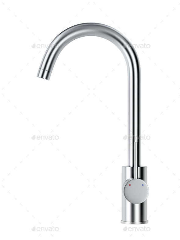 Silver kitchen faucet - Stock Photo - Images