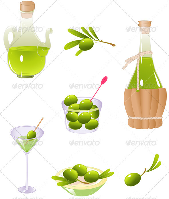 Olives and Olive Oil - Food Objects