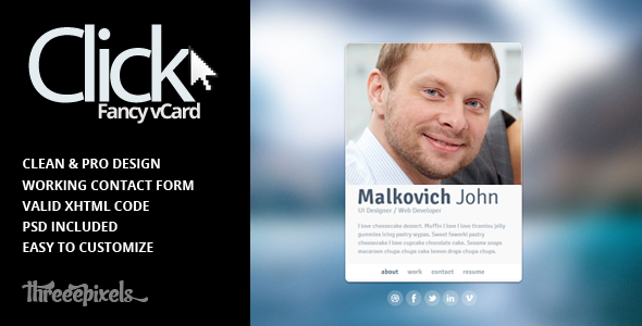 Click - Virtual Business Card Template by ThreeePixels | ThemeForest