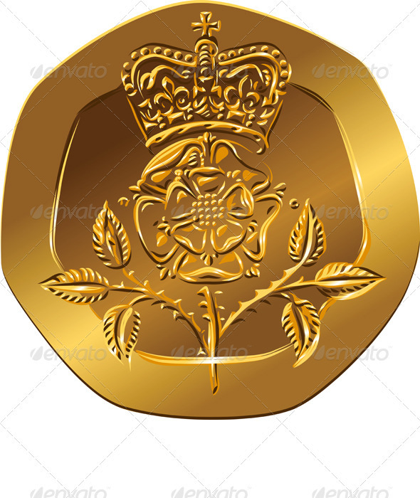 Vector British Money Gold Coin with Crowned Rose - Business Conceptual