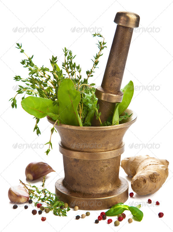 mortar with herbs isolated - Stock Photo - Images