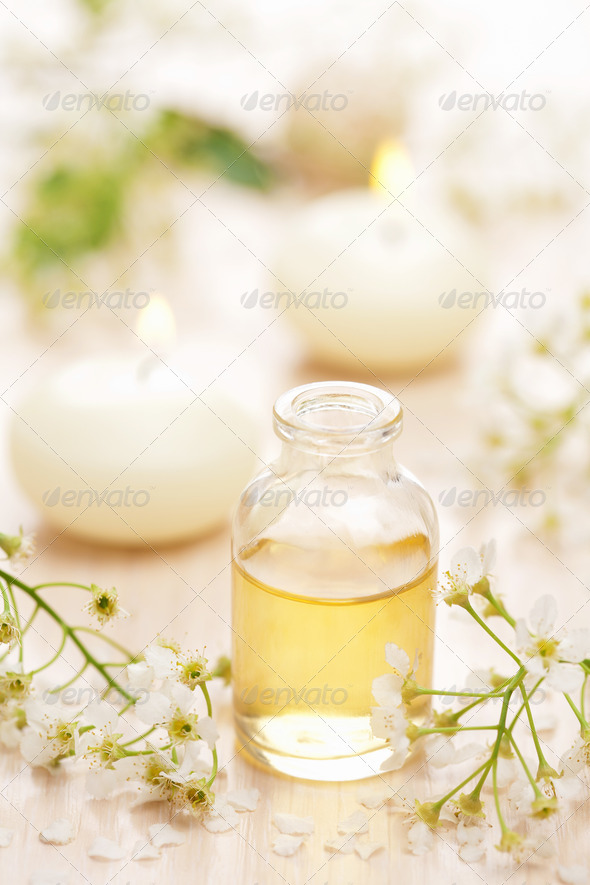 essential oil and flowers - Stock Photo - Images