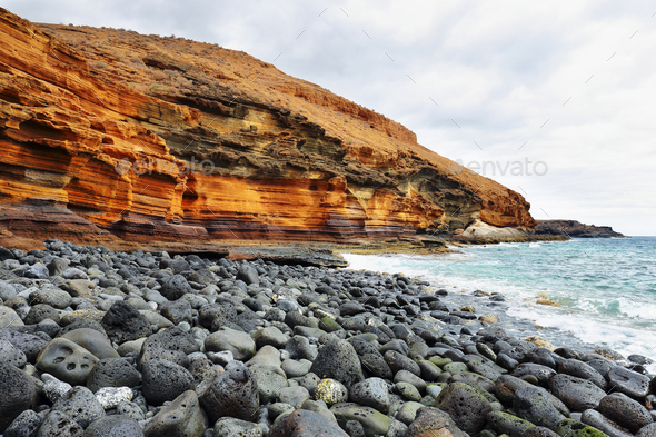 The Yellow Mountain on the ocean shore in Tenerife, Canary islands, Spain - Stock Photo - Images