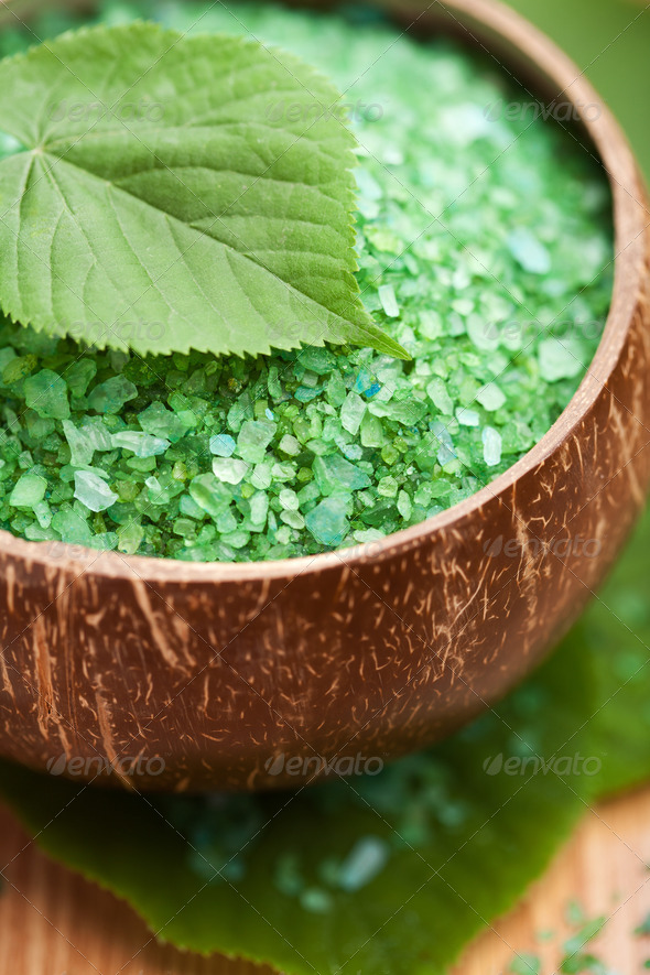 herbal salt and leaves - Stock Photo - Images