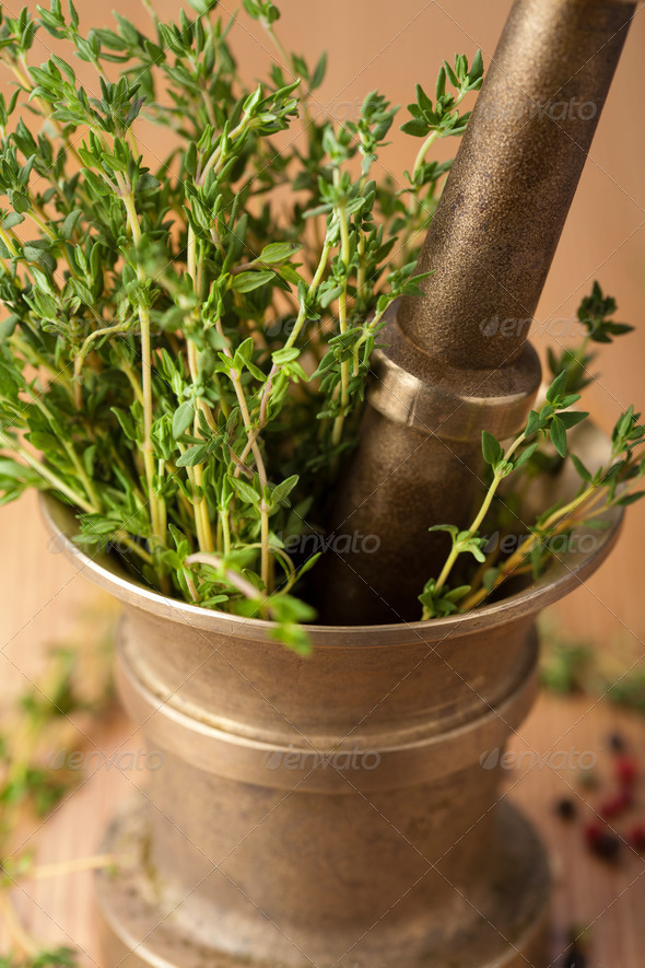 copper mortar with herbs - Stock Photo - Images