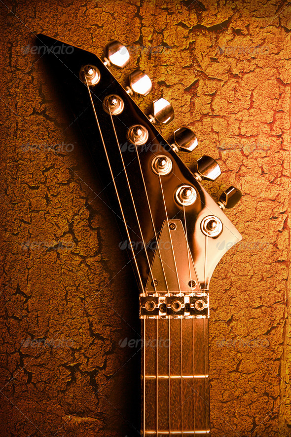 top of guitar over grunge background - Stock Photo - Images