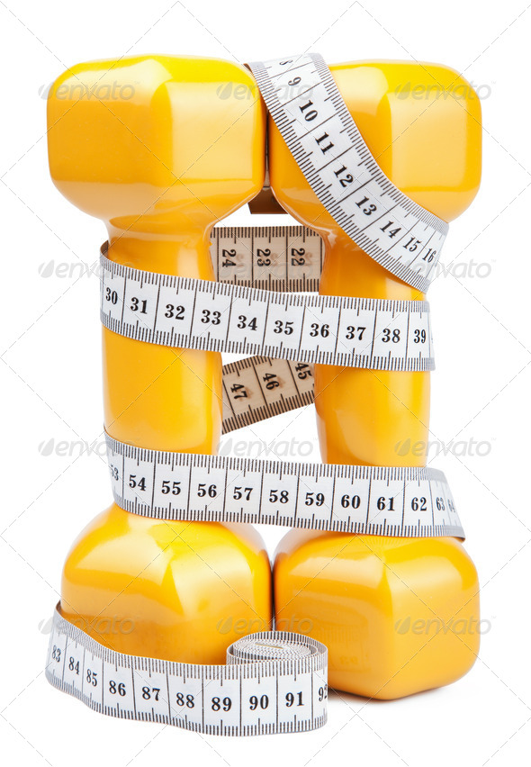two dumbbells and measuring tape isolated - Stock Photo - Images