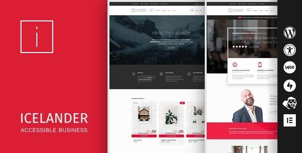 Icelander - Accessible Business Portfolio & WooCommerce WordPress Theme