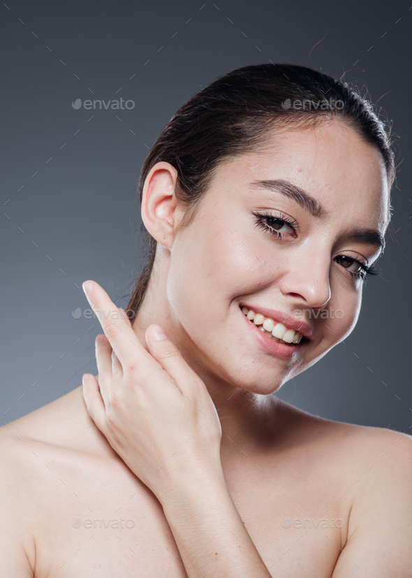 Beautiful smile woman face naturaltanned skin make up beauty female happy positive - Stock Photo - Images