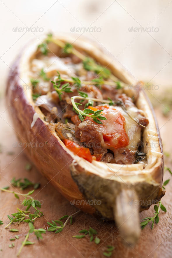 stuffed aubergine with meat and vegetables - Stock Photo - Images