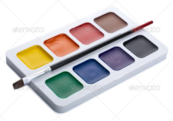 paints and brush isolated - Stock Photo - Images