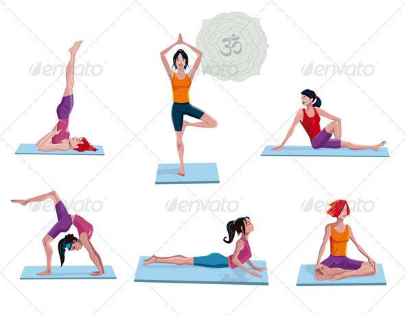 Women Practicing Yoga - People Characters