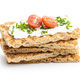 Crispbread with creamy cheese, chive and cherry tomatoes - PhotoDune Item for Sale