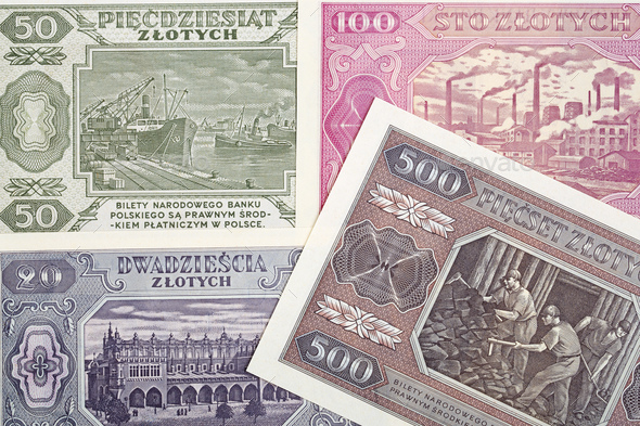 Old Polish money a business background - Stock Photo - Images