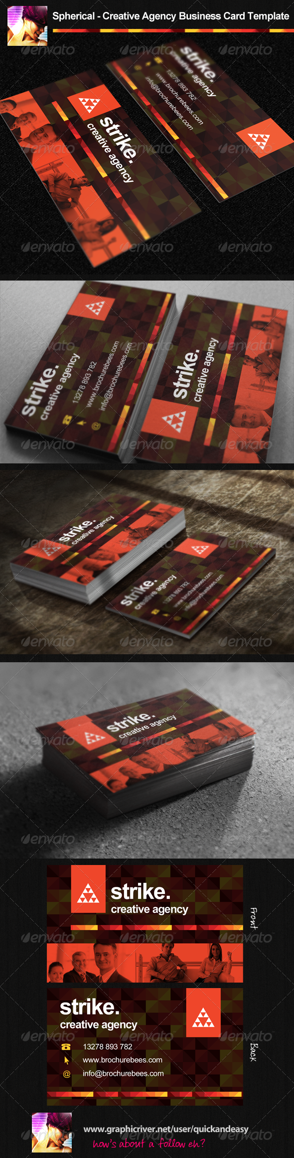 Strike Creative Agency Business Card Template - Creative Business Cards