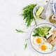 English breakfast - fried eggs, feta cheese, cucumber and arugula. - PhotoDune Item for Sale