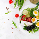 Greek salad and boiled eggs. - PhotoDune Item for Sale