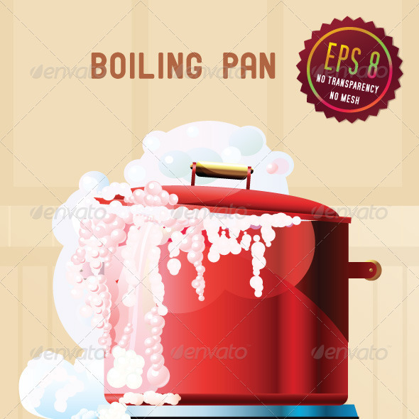 Red boiling pan - Food Objects