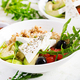Breakfast oatmeal porridge with greek salad of tomatoes, avocado, black olives - PhotoDune Item for Sale