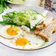 English breakfast - fried eggs, feta cheese, cucumber and arugula. American food. - PhotoDune Item for Sale