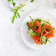 Open sandwich with  crispbread salted salmon, cream cheese, sliced cucumber - PhotoDune Item for Sale