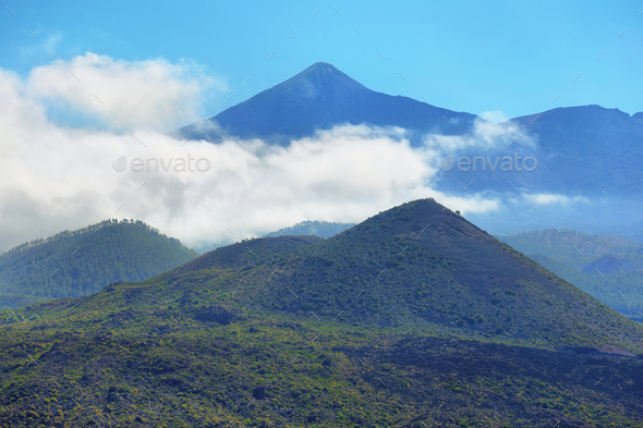 Far view of Teide volcano from Masca road in Tenerife island, Spain - Stock Photo - Images