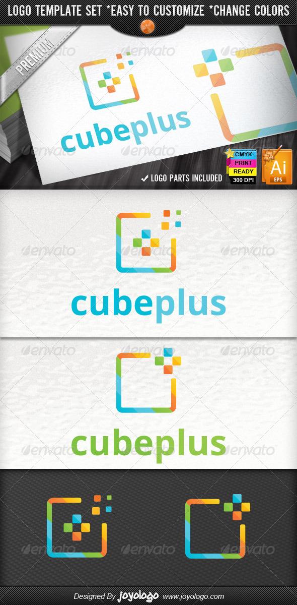 Abstract Cube Pixel Modern Media Plus Logo Design - Symbols Logo Templates