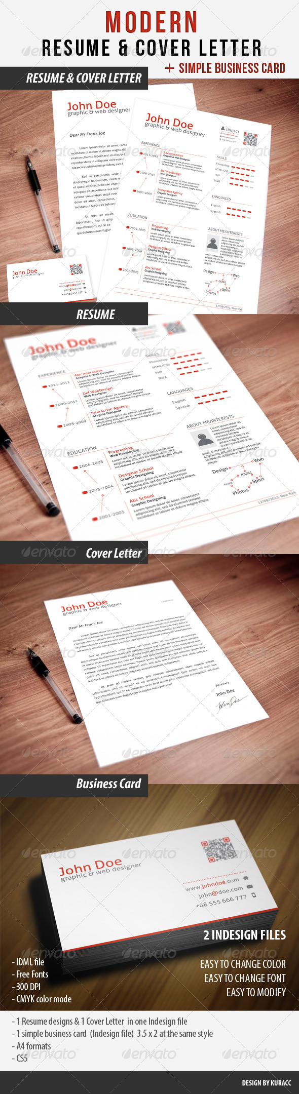 Clean Resume & Cover Letter & Business Card - Resumes Stationery
