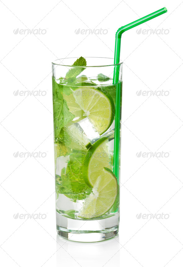 fresh mojito cocktail isolated - Stock Photo - Images