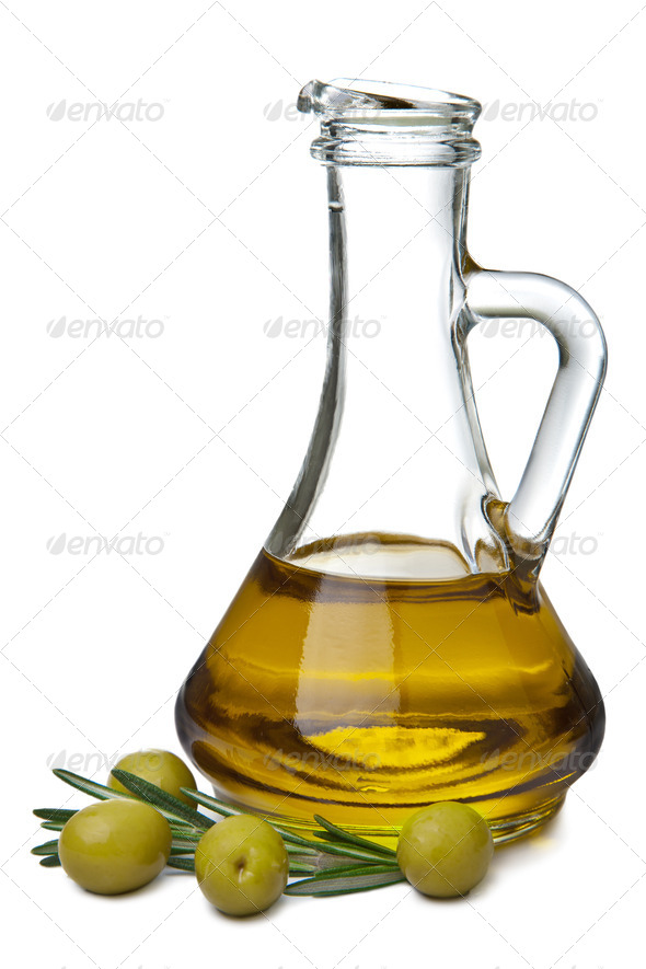 olive oil in bottle and olives isolated - Stock Photo - Images