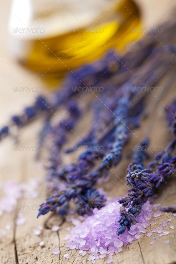 herbal salt and lavender - Stock Photo - Images