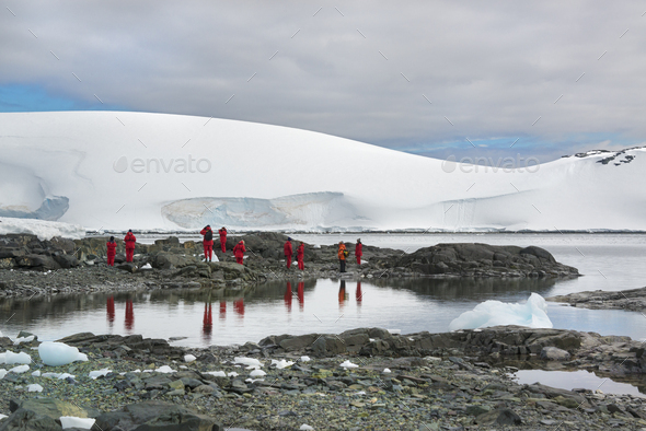 Travellers photographing the scenery and wildlife on an Antarctic island - Stock Photo - Images